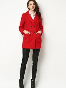Sanlady女装红色呢大衣