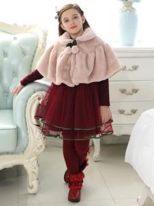 佰林格都童装佰林格都童装秋冬新品酒红色纱裙