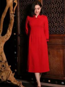 木棉道大红色收腰旗袍连衣裙