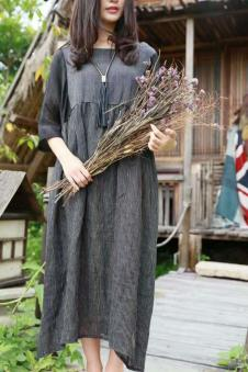 MOCI HIPAA2017春夏新品棉麻连衣裙咖啡色