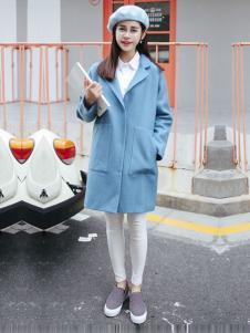 凡兔女装蓝色直筒修身大衣
