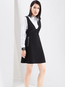 芭蒂娜女装2017春装新品黑色背带裙