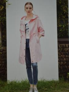 金蝶茜妮粉色长款外套