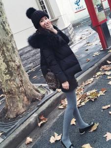 WW.JS.DEER女装新品黑色廓形羽绒服