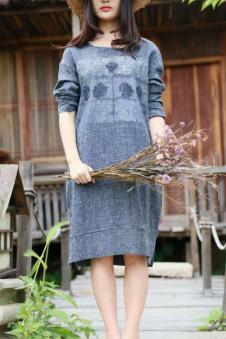 MOCI HIPAA2017春夏新品宽松版棉麻连衣裙
