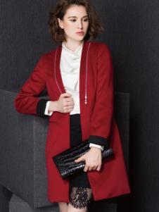 Enaco爱妮格女装红色长款修身大衣