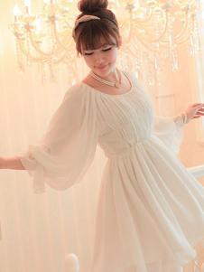 i.free爱无季女装白色雪纺裙