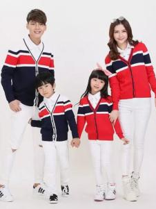 52017亲子装新品红蓝拼色针织衫外套
