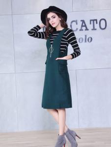 艾诺绮绿色时尚背心连衣裙