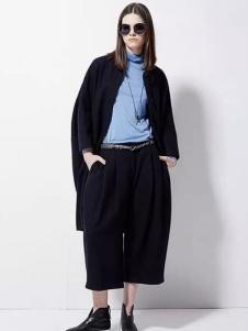 欧蒂芙女装新品黑色阔腿裤