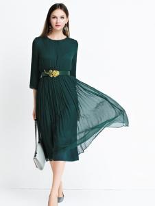艾丽哲绿色雪纺连衣裙