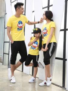 甜蜜风亲子装2017春夏新品黄色卡通印花T恤