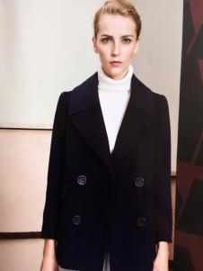 薇妮兰黑色短款呢外套