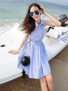 谜秀女装2017春夏新品翻领蓝色连衣裙