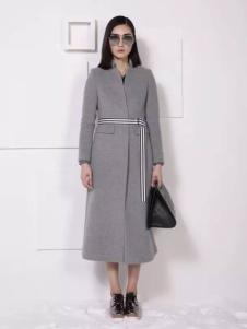 THAT'S ALL女装灰色中长款收腰大衣