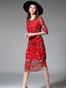 司合伊红色印花修身连衣裙