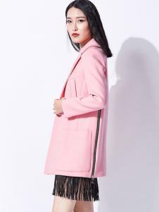 芭蒂娜女装2017春装新品粉色中长款外套