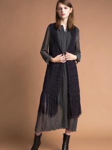 雅意娜菲女装新品长款针织马甲