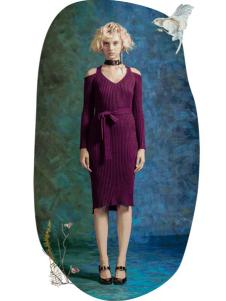 MAXRIENY女装2017春夏新品紫色针织修身裙