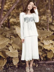 丽比多白色雪纺半裙