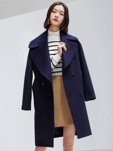 对白女装新品宝蓝色修身大翻领大衣