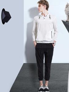新升流派白色休闲T恤