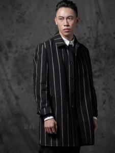 觉同男装竖条纹长款外衣