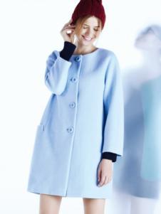 安缇娜女装安缇娜女装浅蓝色圆领大衣