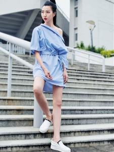 邻家女孩女装蓝色衬衫裙