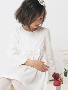 欧可童装白色连衣裙