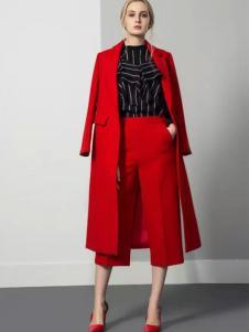 JUST&TH女装2017春装新品红色中长款大衣