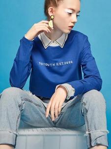 初语2017春季新款纯棉印花圆领长袖T恤