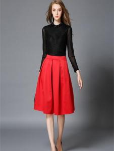 吸引力女装吸引力女装新品红色褶裙