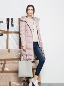 丽芮秋冬粉色长款羽绒服