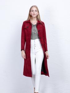 丹尼布鲁长款红色大衣外套