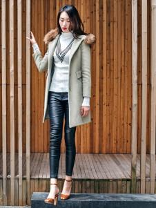 雅奴天使时尚灰色大衣新款