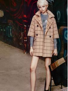 薇妮兰卡其色五分袖呢外套