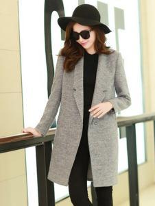 阿珍妮女裝灰色直筒修身大衣