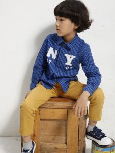 Coobile酷比乐童装蓝色格纹衬衫