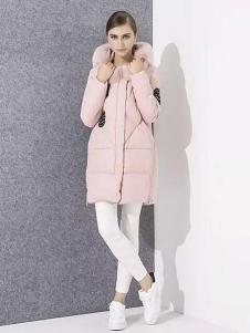 爱博·琼斯女装粉色长款羽绒服