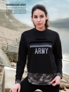 战地休闲装新品女士黑色卫衣