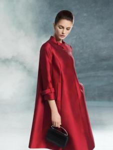 BBLLUUEE粉蓝时尚2017春夏新品红色廓形外套