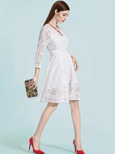 依目了然女装白色蕾丝连衣裙