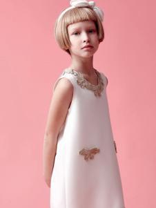 IKKI(安娜与艾伦)童装新品白色连衣裙