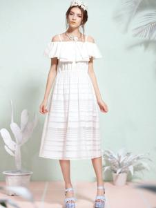 tunetune女装白色露肩连衣裙