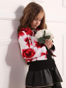欧可童装玫瑰印花外套