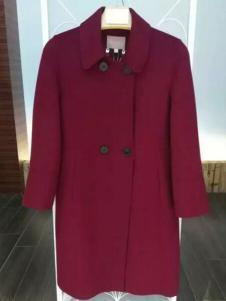MaxEmma女装暗红色中长款呢大衣