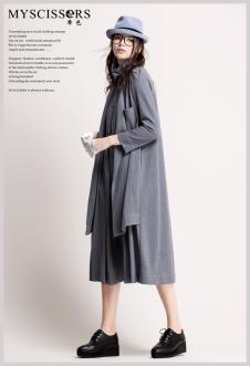 希色MYSCISSORS2017春夏新品灰色长裙
