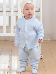 Maganls麦吉安琪婴童装蓝色开襟套装