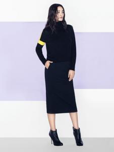 衣架女装高领黑色修身长裙